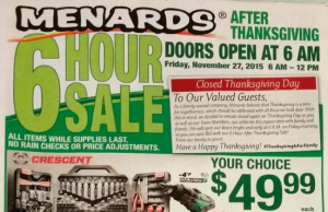 Menards Black Friday Sale