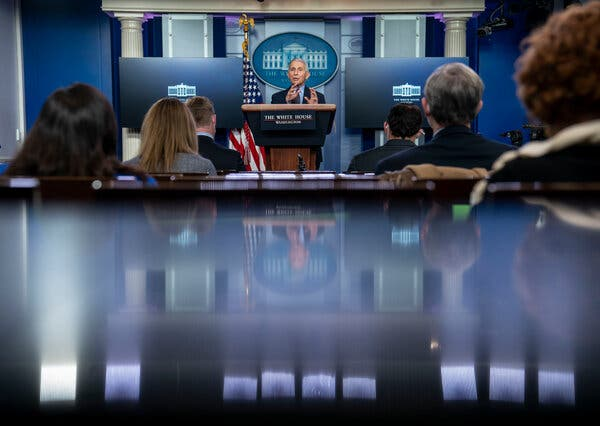 Dr. Anthony S. Fauci, the president's chief medical adviser, briefing reporters at the White House last month.