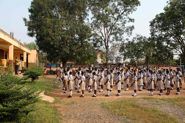A school that reopened in Accra, Ghana, last month. The country has received a shipment of 600,000 vaccine doses.